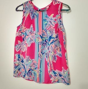 Lilly Pulitzer pink floral tank top size XS